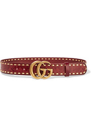 Cerise embossed leather belt
