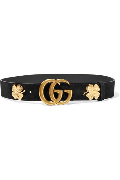 Gucci - Embellished Suede Belt - Black