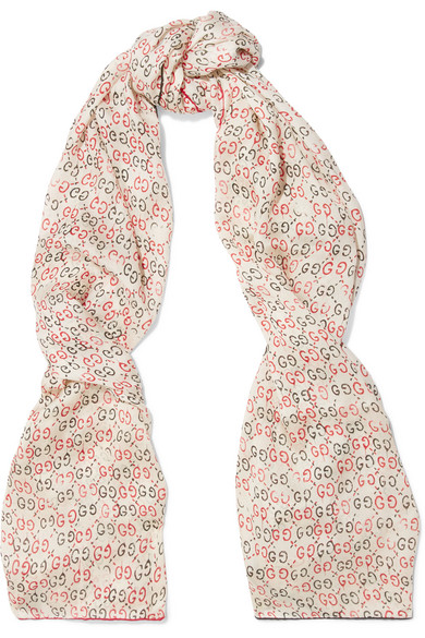 gucci female gucci printed silk scarf offwhite