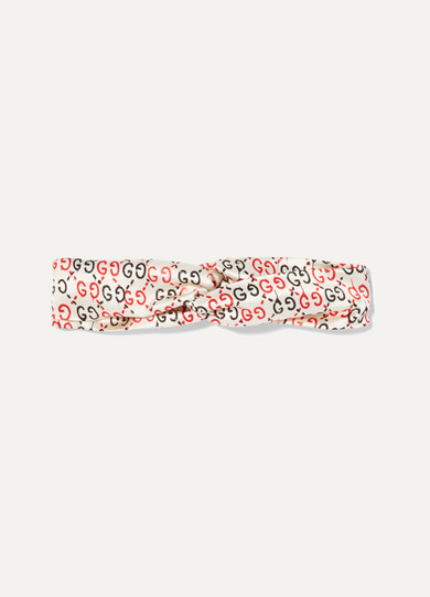 gucci female gucci printed twisted silksatin headband offwhite