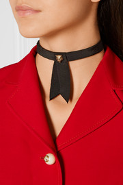 Embellished grosgrain collar