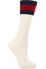 Stripe-trimmed cotton-blend socks