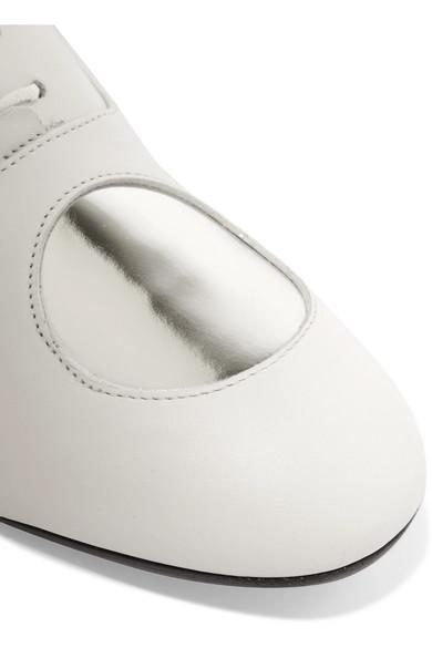 MARNI Leathers Metallic polka-dot leather brogues