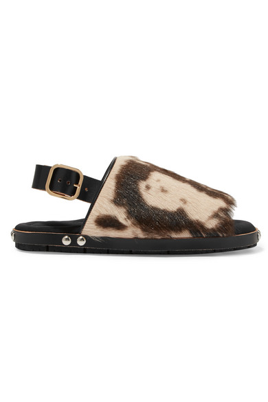 Marni Leathers Fussbett leather-trimmed printed goat hair sandals
