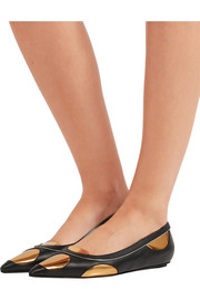 Marni Metallic-paneled leather point-toe flats