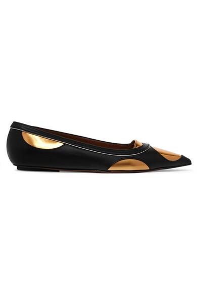 Marni Leathers Metallic-paneled leather point-toe flats