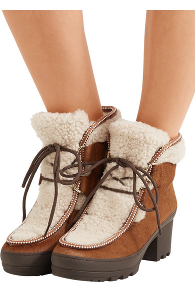Tory Burch - Berkley Calf Hair And Shearling Ankle Boots - Tan
