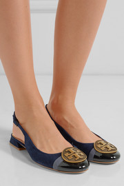 Tory Burch Chery embellished patent-leather and suede slingback flats