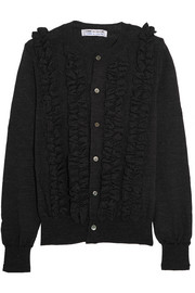 Ruffled wool cardigan