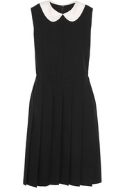 Pleated silk-trimmed wool dress
