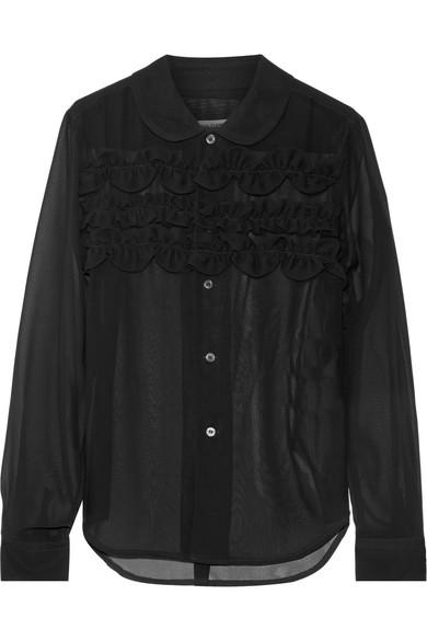 Comme des Garçons Comme des Garçons - Ester Ruffle-trimmed Chiffon Shirt - Black