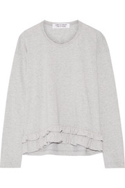 Ruffle-trimmed cotton-jersey top