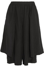 Draped brushed-jersey culottes