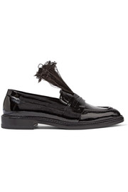 Christopher Kane Feather-trimmed patent-leather loafers