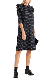 Ruffled polka-dot wool-jersey dress