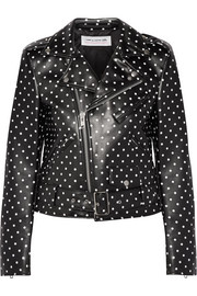 Polka-dot faux leather biker jacket