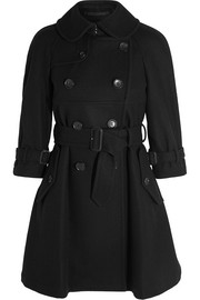 Belted double-breasted wool-blend felt coat