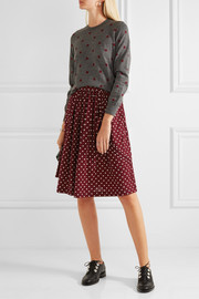 Bow-embellished polka-dot wool-jersey skirt