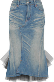 Junya Watanabe Denim and tulle midi skirt