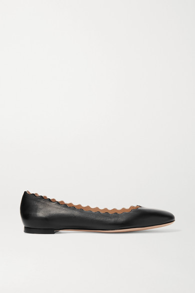 ChloÉ Lauren Scalloped Leather Ballet Flats, Black