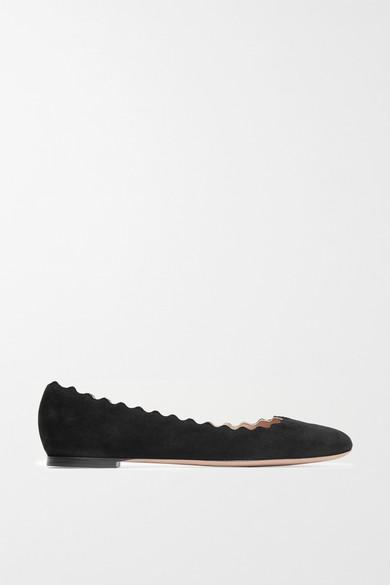 Chloe Lauren Scalloped Suede Ballerina Flat in Black