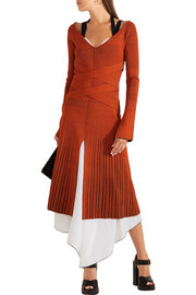 Proenza Schouler Plated-knit and stretch-silk midi dress