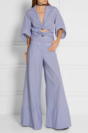 Knotty By Nature cutout pinstriped cotton-poplin jumpsuit