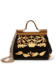 Dolce & Gabbana Sicily mini embellished velvet and metallic leather shoulder bag