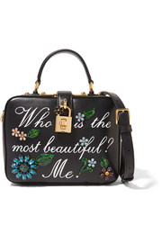 Dolce embellished printed leather shoulder bag