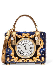 Dolce & Gabbana Dolce Box crystal-embellished ayers-trimmed painted wood clutch