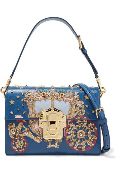 Dolce & Gabbana - Lucia Embellished Appliquéd Lizard-effect Leather Shoulder Bag - Blue