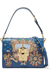 Lucia embellished appliquéd lizard-effect leather shoulder bag
