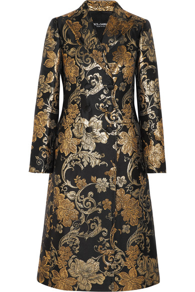 Dolce & Gabbana - Double-breasted Metallic Floral-jacquard Coat - Gold
