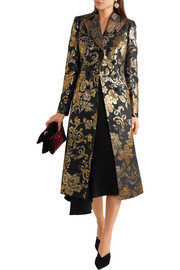 Dolce & Gabbana Double-breasted metallic floral-jacquard coat
