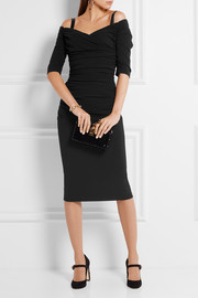 Dolce & Gabbana Ruched off-the-shoulder wool-blend crepe midi dress