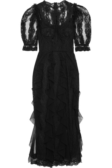 Dolce & Gabbana - Ruffled Lace And Tulle Midi Dress - Black
