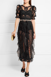 Dolce & Gabbana Ruffled lace and tulle midi dress