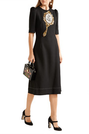 Embellished wool-blend crepe dress