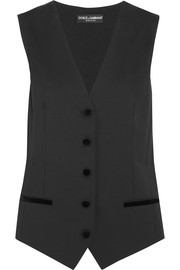 Dolce & Gabbana Velvet-trimmed twill and polka dot-embroidered crepe vest
