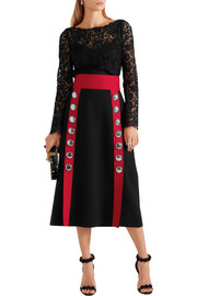 Dolce & Gabbana Embellished wool-blend skirt