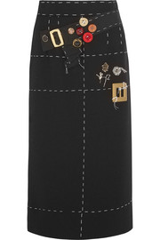 Dolce & Gabbana Embellished silk-blend crepe skirt