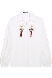 Embellished silk-charmeuse shirt
