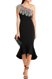 Peter Pilotto One-shoulder crocheted lace-paneled stretch-cady dress