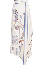 Peter Pilotto Embroidered stretch-crepe maxi skirt