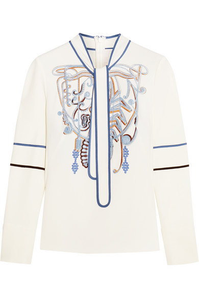 Peter Pilotto - Pussy-bow Embroidered Stretch-crepe Blouse - White