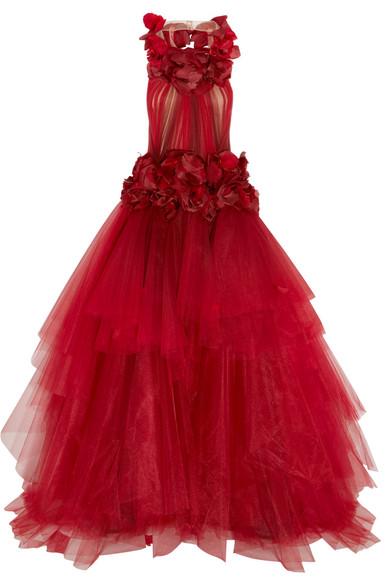 Marchesa - Appliquéd Tiered Dégradé Tulle Gown - Merlot
