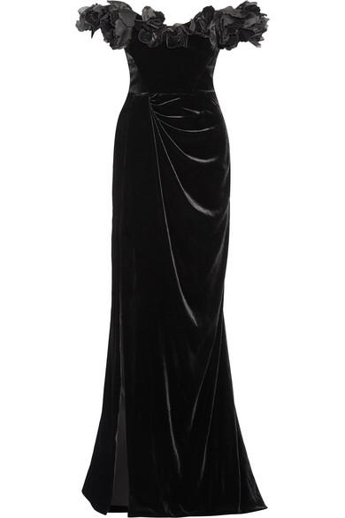 1e804fb5 Marchesa   Off-the-shoulder organza-trimmed velvet gown   NET-A ...