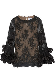 Marchesa Silk organza-trimmed lace blouse