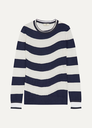 Fendi - Striped Cashmere-blend Sweater - Navy