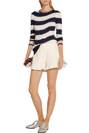 Ruffled wool and silk-blend shorts